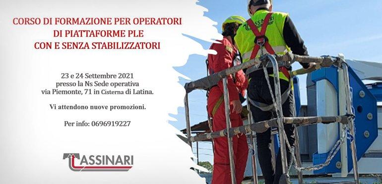 Corso di formazione per operatori di piattaforme PLE con e senza stabilizzatori